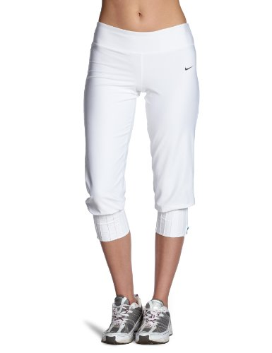 Nike Damen Hose Capri, White/Black, XL