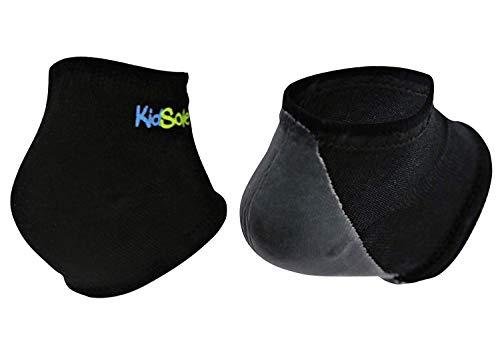 KidSole Gel Heel Strap for Kids with Heel Sensitivity from Severs Disease, Plantar Fasciitis. (Black) (Teenager Sizes 6-8, Black)