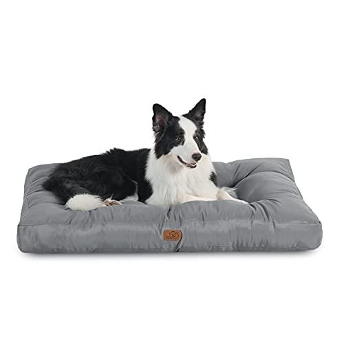 Bedsure Cama Perro Impermeable Grande - Colchón Perro Lavable para Verano, Cojín Perro Antipelo y Suave, Gris, L, 91x68x10 cm