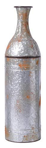 Vintiquewise QI003484.M 33' Rustic Farmhouse Style Galvanized Metal Floor Vase Decoration, Medium, Grey