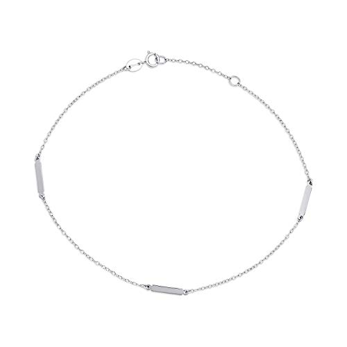 Bling Jewelry Simple Plain Bar and Link Chain Anklet Charm Hot Wife Ankle Bracelet for Women 925 Sterling Silver Adjustable 9 Or 10In