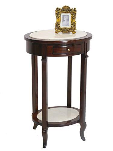 Antike Fundgrube Ovaler Beistelltisch antik Stil Massivholz mit weißer Marmorplatte | Tisch Telefontisch | dunkler Nussbaum-Farbton B: 54 cm (3396)