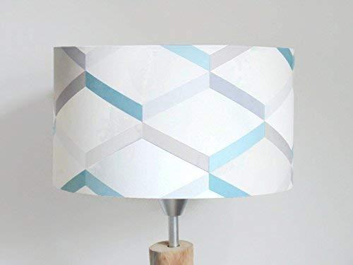 abat-jour motif géométrique scandinave bleu gris Luminaire chambre bébé cylindre rond idée cadeau enfant décoration naissance anniversaire fête des mères