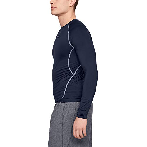 Under Armour UA HeatGear Long Sleeve, Long-Sleeve Functional Shirt, Breathable Long-Sleeve Shirt for Men Men, NavyBlue (Midnight Navy/Steel (410)), S