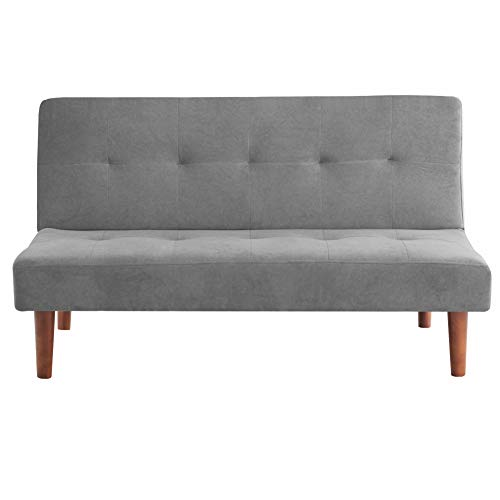 Warmiehomy Modern Fabric Sofa Bed 2 Seater Recliner Lounge Couch Recliner Chair Sleeper Settee Living Room Sofa Click Clack Mechanism Home Office Furniture (Grey)