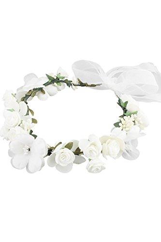 Babyonline® Blumenkranz Blumenstirnband Blumenkrone Haarkranz Garland Halo mit Floral-Handgelenk-Band Hochzeit Festival Braut