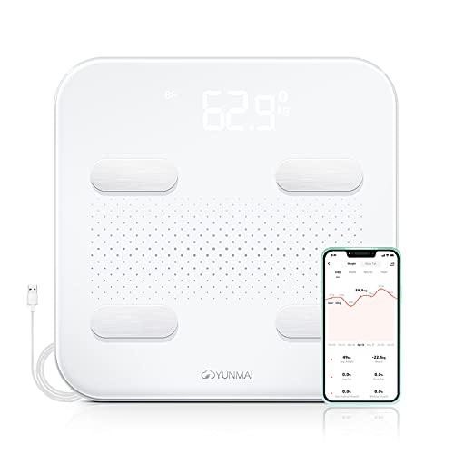 YUNMAI Color Báscula Inteligente de Composición Corporal, Báscula peso digital Grasa Corporal y Muscular, Balanza Peso Corporal Bluetooth USB Báscula de Baño Digital Bioimpedancia con App Apple Health