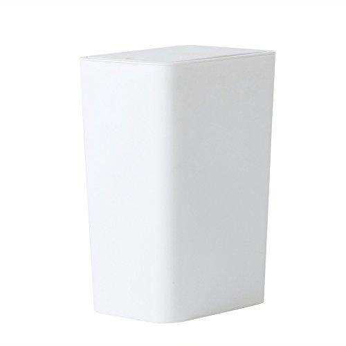 Cubo de la basura Bote de basura plástico de mano de la casa empuje, creativo moderno, sala de estar Dormitorio baño de basura Bote de basura de la oficina, blanco Basurero ( tamaño : 8L )