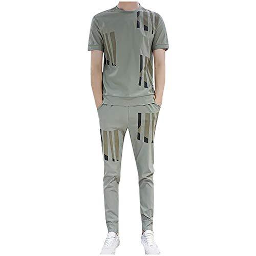 DAY8 Uomo Sport Abbigliamento Tute da Ginnastica Uomo Sportive Complete Tuta Estiva Uomo 2 Pezzi Completa Elegante Taglie Forti Manica Corta T-Shirt Pantaloni (Verde, M)