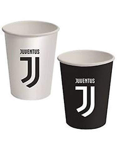 Bigiemme Bicchieri Juventus Juve Bianco Nero 8 PZ 266 ML in CARTONCINO Decorazioni TAVOLA Compleanno Festa Squadre Calcio