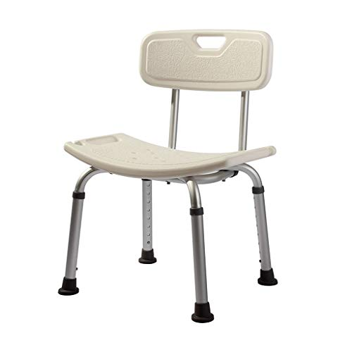 ZZYE Taburete Baño Silla de baño de heces de baño Asiento de baño - Aluminio liviano - con Respaldo - Silla de baño con discapacitados de Ancianos Silla de Ducha