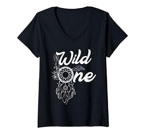 Mujer Atrapasueos Atrapasueos Nativo Americano Wild One Boho Camiseta Cuello V