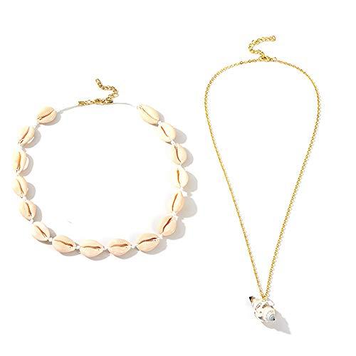 YONGHUI 2 PCS Conch Shell Necklaces For Women Girls Summer Beach Seashell Choker Necklace Jewellery Golden Silver