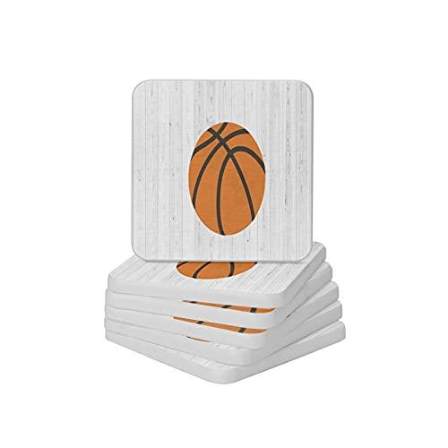 Juego de 6 posavasos de madera con diseño de baloncesto y posavasos absorbentes para tipos de tazas y tazas