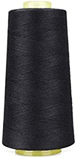 6000 Yards Black Sewing Thread All Purpose 100% Spun Polyester Spools Overlock Cone (Upholstery, Canvas, Drapery, Beading,...