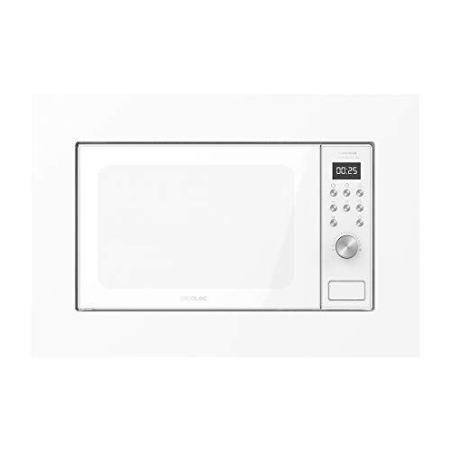 Cecotec Microondas encastrable Digital GrandHeat 2000 Built-In White. 700W, Integrable, 20l, Grill, 9 Funciones preconfiguradas, Quick Start, Diseño elegante