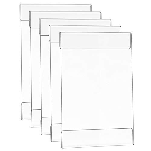 ANJI Soporte autoadhesivo de pared de Depot A4 (5 unidades), marco de pantalla acrílico, soporte para póster para oficina, hogar, negocio, restaurante (transparente)