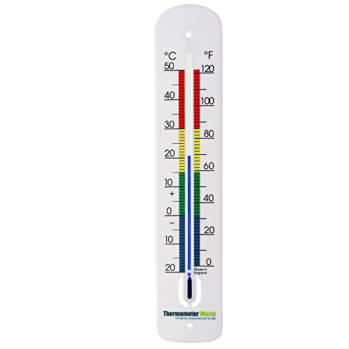 Large Outdoor Thermometer 380 mm Long - Garden Thermometer Outdoor Made in UK with Colour Coded Zones for use in Garden Outside Greenhouse Patio Sun Terrace