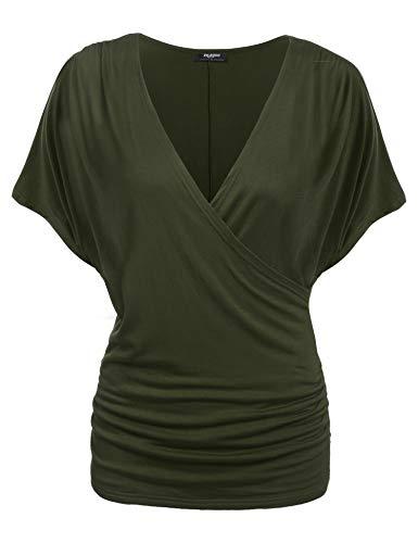 Zeagoo Damen V-Ausschnitt T-shirt Kurzarm Batwing Fledermaus Sommer Shirt Tunika Bluse(EU 40(Herstellergröße:L), Olivgrün