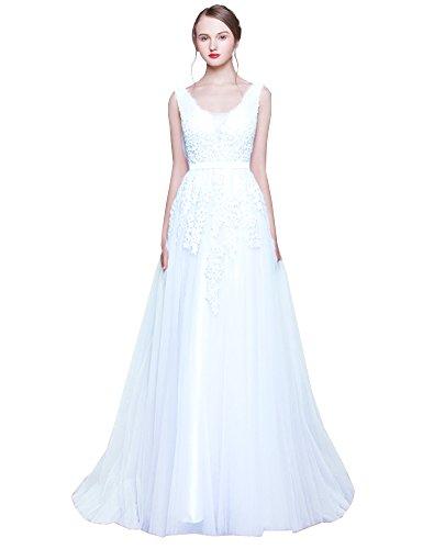 Erosebridal Langes Ballkeider Rueckenfrei Schnuerung Abendkleid Spitze Brautkleid Weiß A DE32