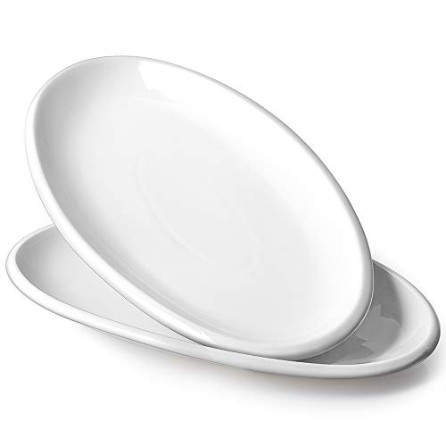 DOWAN Porcelain Oval Serving Platters - 14 Inches Large White Oval Serving Plates Dinner Plates for Meat, Appetizers, Dessert, Fish, Party, Stackable, Set of 2, White
