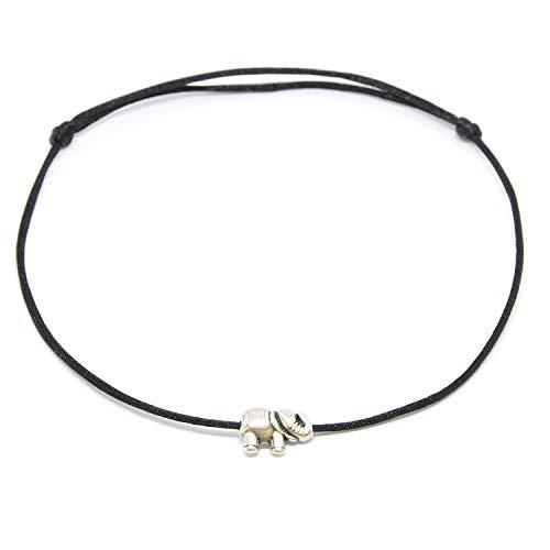 Selfmade Jewelry ® Fußkettchen Elefant Silber - Größenverstellbar Fussband mit Elefanten Anhänger in Silber Handmade Fußbändchen Inkl. Geschenkverpackung (Schwarz)