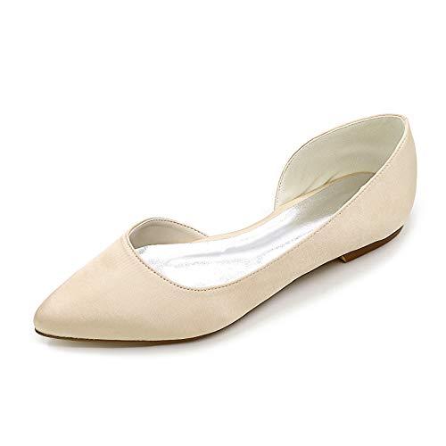 CHARMSTEP Zapatos De Novia Planos para Mujer Bailarinas Satén Punta Cerrada Zapatos De Boda 35-42 2046-08,Champagne,35 EU