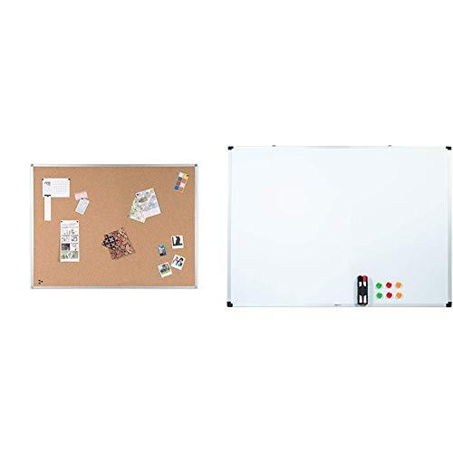 BoardsPlus Tablero De Corcho Y Pizarra Con Marco De Aluminio, 120x90 cm + Amazon Basics - Pizarra blanca magnética con bandeja para rotuladores y marco de aluminio, 120 cm x 90 cm