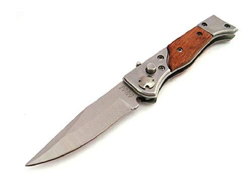 KOSxBO Klassisches Messer Klingenlänge 7,5 cm Taschenmesser Einhandmesser aus Holz und Metall - Outdoor Messer - Klappmesser - kleines Messer mit Holzgriff - scharfes Messer legal - Camping