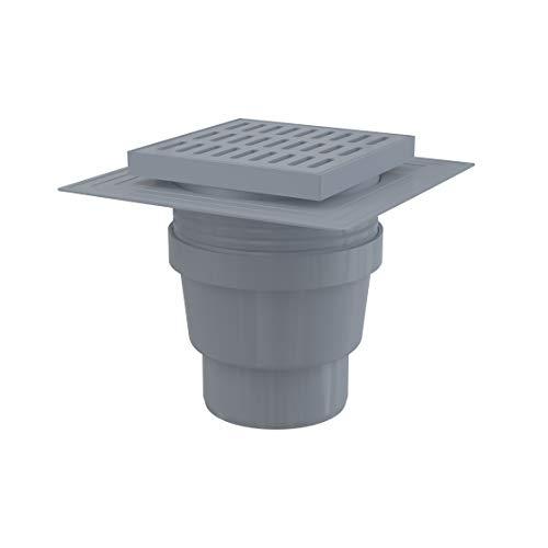 Siphon de sol en plastique - 150x150/110 mm - sortie verticale – grille en plastique, collerette, deux niveaux d'isolation, siphon humide