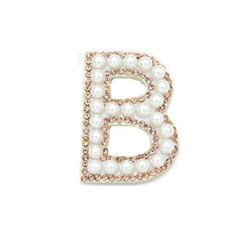 Garispace 1 parche para planchar con letras y perlas artificiales elegantes del alfabeto separado de la A a la Z del alfabeto para coser en apliques de diamantes de imitación, color blanco B