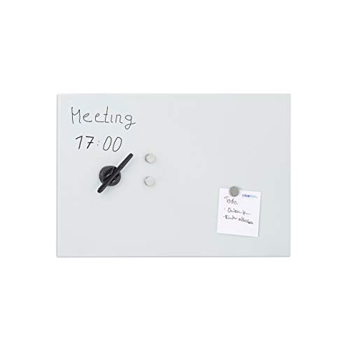 Relaxdays Glas-Magnetboard 60 x 40 cm, beschreibbar, Memboard, 3 Magneten, Sicherheitsglas, Magnettafel, weiß