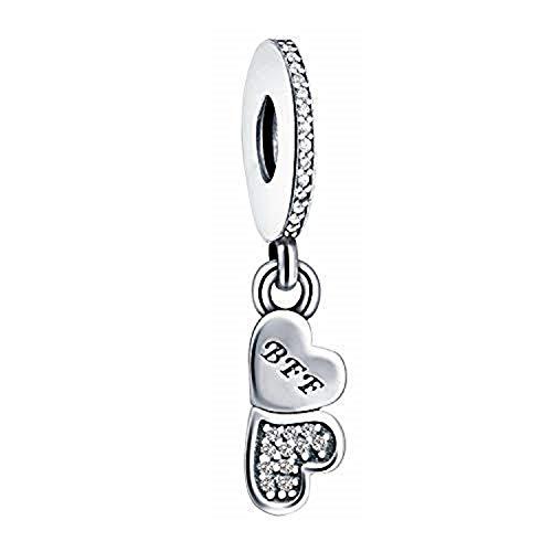 Colgante de plata de ley para pulseras Pandora y similares, diseño de corazón con texto en inglés 'Best Friends'