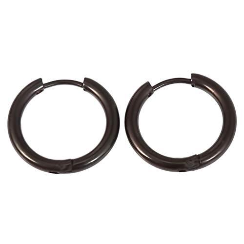 Timesuper Pendientes de aro de acero inoxidable 316L para cartílago, pendientes de aro sin costuras, para hombres y mujeres, 2,5 x 14