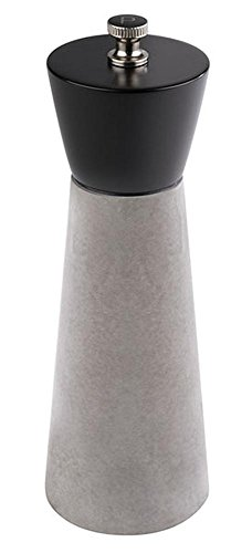 APS Pfeffermühle -Element- aus Beton, Ø 6 cm, Höhe 18 cm, Kopfteil aus Buchenholz, Mahlwerk aus Carbonstahl, Moderne Optik