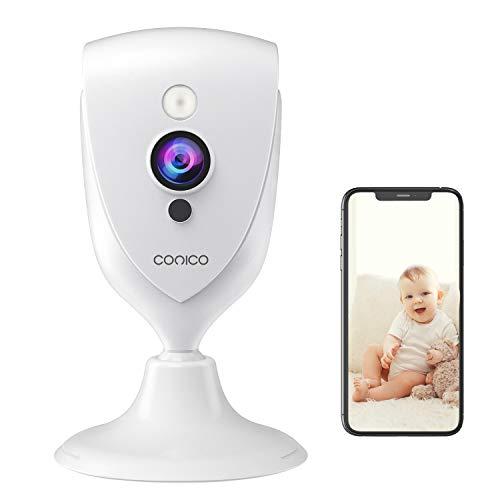 WLAN IP Kamera, Conico Überwachungskamera Innen mit 1080p-Auflösung, 2 Wege Audio, 10m Nachtsicht, Bewegungsmelder, WiFi Hundekamera Kompatibel mit Alexa für Haustier/Baby/Ältere