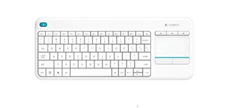 Logitech K400 Plus Teclado Inalámbrico con Touchpad para Televisores, Disposición QWERTY Turco, Blanco