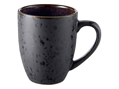BITZ Kaffeetasse/Kaffeebecher, Tasse aus robustem Steinzeug, 30 cl, schwarz außen/dunkelblau innen