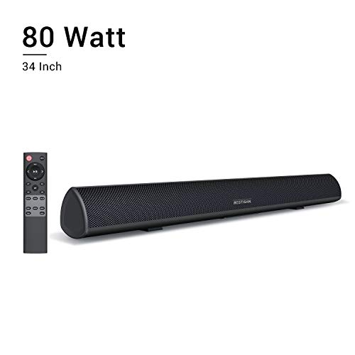 80Watt 34Inch Sound bar, Bestisan Soundbar Bluetooth 5.0 Wireless and Wired Home Theater Speaker (DSP, Bass Adjustable, Optical Cable Included, 90-Day Trial, 2019 Upgraded)