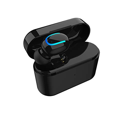True Wireless Bluetooth 5.0 audífonos, deporte a prueba de sudor con funda de carga portátil mini auriculares intraurales manos libres audífonos con micrófono para iPhone teléfonos celulares Huawei