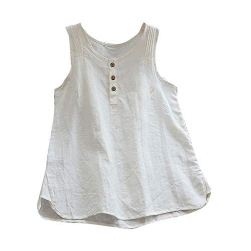 TUDUZ Blusas Mujer Sin Mangas Verano Lino Camisas Color Sólido Vintage Camisetas Tallas Grandes (Blanco.b, XXL)