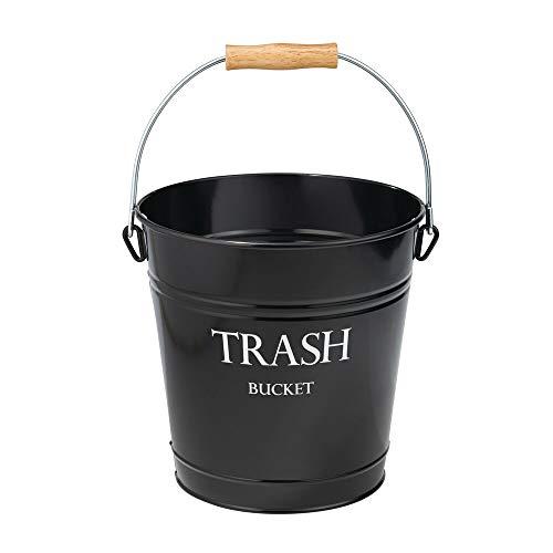 mDesign poubelle en métal - corbeille à papier chic comme poubelle de salle de bain, de bureau ou de chambre - contenance de 12,5 L - noir