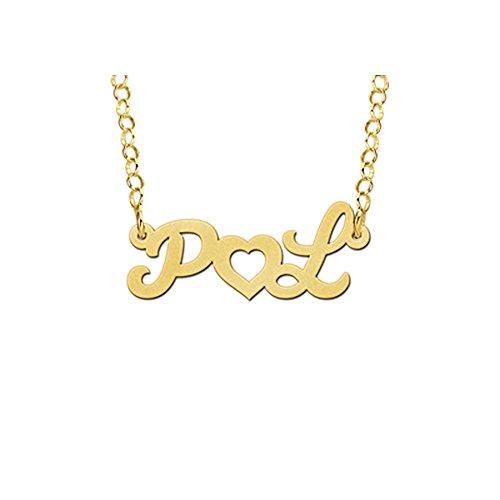 Namesforever Initiaalketting met 2 initialen en hart incl. ketting van goud