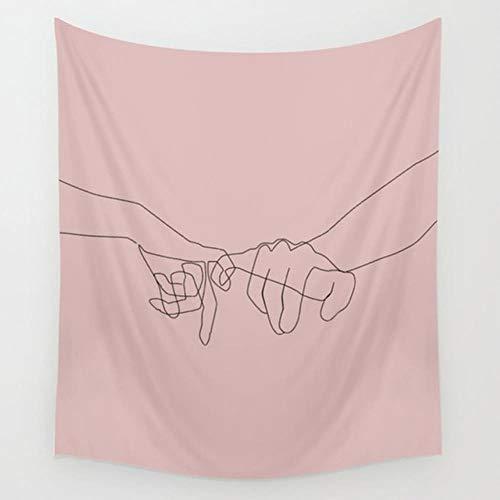 Tapiz de lnea simple blanco negro nia flor mariposa tapiz colgante pared picnic yoga Mat INS rosa decoracin del hogar cubierta de cama