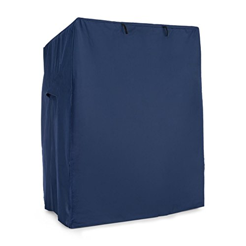 blumfeldt Hiddensee - Strandkorbhaube, Schutzhülle, Witterungsschutz, Abdeckhaube, 115 x 160x 90 cm, 2 Lüftungsfenster, Klettverschlüsse, aufrollbare Frontklappe, wasserdicht, blau