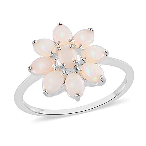 TJC Orange Opal Cluster Ring for Women in 925 Sterling Silver Wedding Jewellery Size O, TCW 1ct