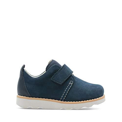 Clarks Jungen Crown Park T Sneaker, Blau (Navy Leather), 20.5 EU