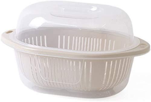 Gububi Fruit Vegetable Bowl Basket Plastic Fruit Basket With Cover, Wash Drain Water Double Layer Vegetable Basket Fruit Plate Mesh 37 * 21 * 27cm Fruit Display Stand