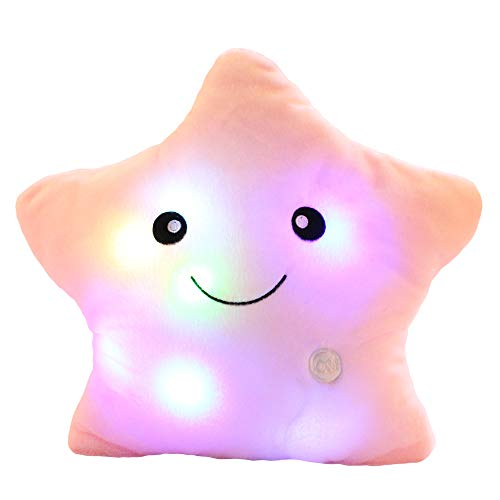 sofipal Creative Twinkle Star Shaped Plush Pillow, LED Night Light Glowing Cushions Stuffed Toys Gifts for Kids, Decoration (Pink)