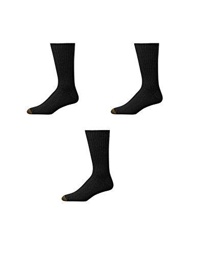 Gold Toe Crew-Socken für Herren, besonders weich, 3 Paar Gr. Einheitsgröße, Schwarz